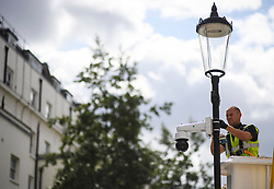 © Licensed to London News Pictures. 24/08/2018. London, UK. CCTV being stalled around the streets of Notting Hill, West London ahead of the 2018 Notting Hill Carnival which starts this weekend. Photo credit: Ben Cawthra/LNP