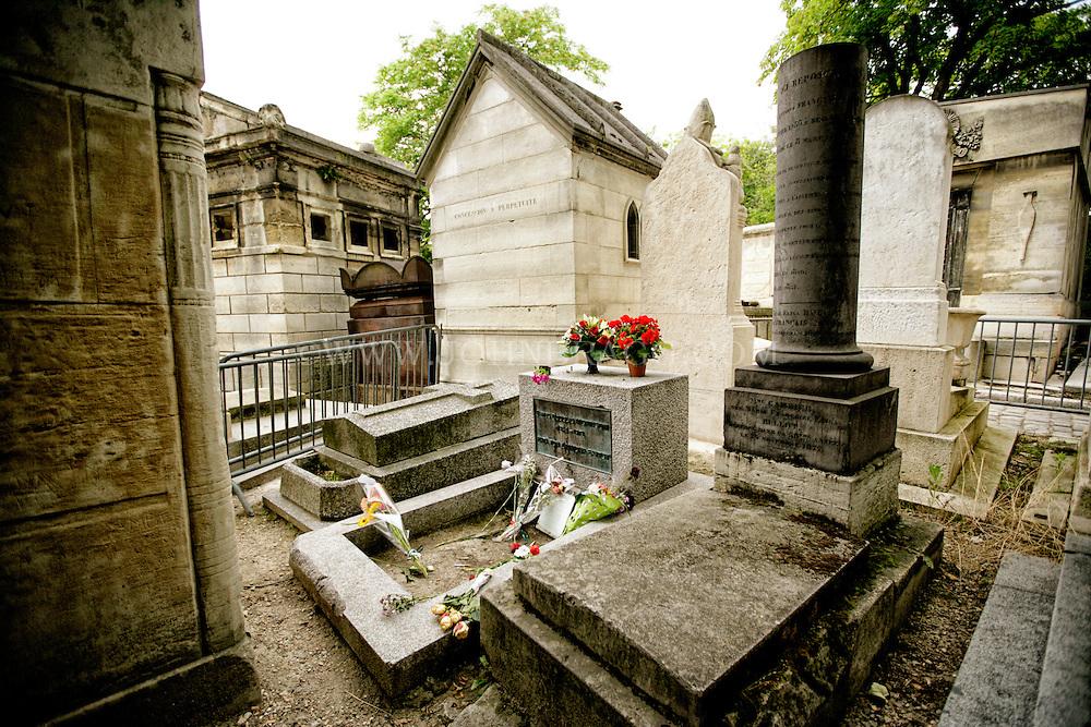 Jim Morrison's grave site, located at the Père Lachaise Cemetery, Paris, France.