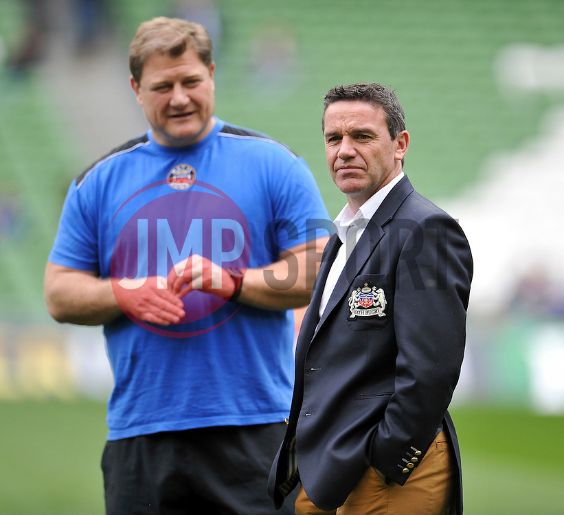 Bath Rugby Head Coach Mike Ford looks on during the pre-match warm-up - Photo mandatory by-line: Patrick Khachfe/JMP - Mobile: 07966 386802 04/04/2015 - SPORT - RUGBY UNION - Dublin - Aviva Stadium - Leinster Rugby v Bath Rugby - European Rugby Champions Cup