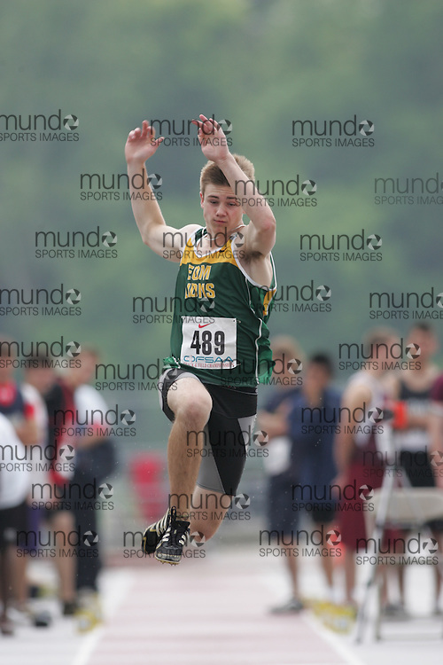 (London, Ontario}---03 June 2010) Alex Dawson of Earl of March - Kanata competing in the long jump at the 2010 OFSAA Ontario High School Track and Field Championships. Photograph copyright Sean Burges / Mundo Sport Images, 2010.