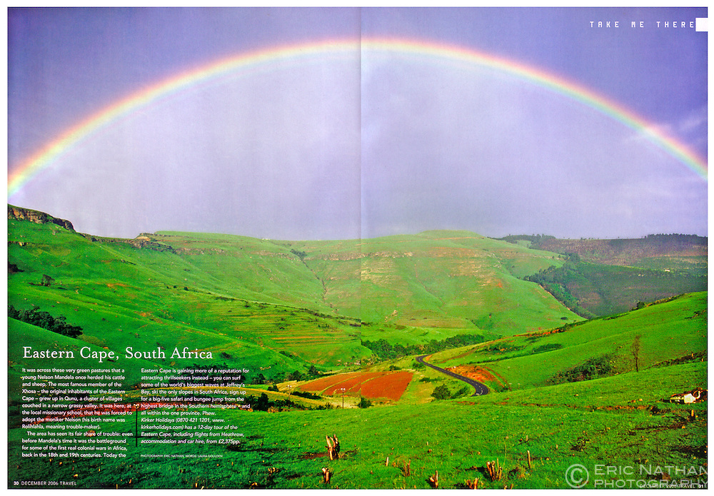 Tear sheet from Sunday Times Travel Magazine (UK) of a rainbow in South Africa's Eastern Cape Province.