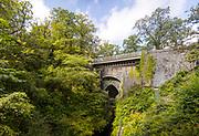 DEVILS BRIDGE, WALES, UK 18TH AUGUST 2019 - Landscape of Devils Bridge on sunny afternoon, Vale of Rheidol, County of Ceredigion, Mid Wales, UK.
