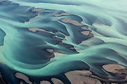 """Aerial view of sand and sediment in the river Hvitá (""""White River"""") in Southern Iceland"""