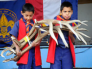 Cub Scout twin brothers Sebastian and Estaban Lira, 7, hold up a bundle of elk antlers as the bids come in at the annual Boy Scout Elk Antler Auction on the Town Square on Saturday.
