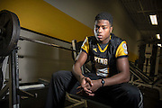 DETROIT - DECEMBER 18: Detroit King high school wide receiver Donnie Corley poses for a portrait December 18, 2015 in the weight room at King High School. (Photo by Bryan Mitchell/Special to The Detroit News)