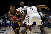Manny Camper (3) of Siena drives against Quentin Goodin (3) of Xavier during an NCAA college basketball game, Friday, Nov. 8, 2019, at the Cintas Center in Cincinnati, OH. Xavier defeated Siena 81-63. (Jason Whitman/Image of Sport)