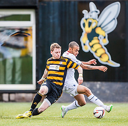 Alloa Athletic's Michael Doyle and Falkirk's Phil Roberts.<br /> Alloa Athletic 3 v 0 Falkirk, Scottish Championship game played today at Alloa Athletic's home ground, Recreation Park.<br /> &copy; Michael Schofield.