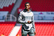 Leeds United forward Eddie Nketiah (14) arrives at the ground during the EFL Sky Bet Championship match between Stoke City and Leeds United at the Bet365 Stadium, Stoke-on-Trent, England on 24 August 2019.
