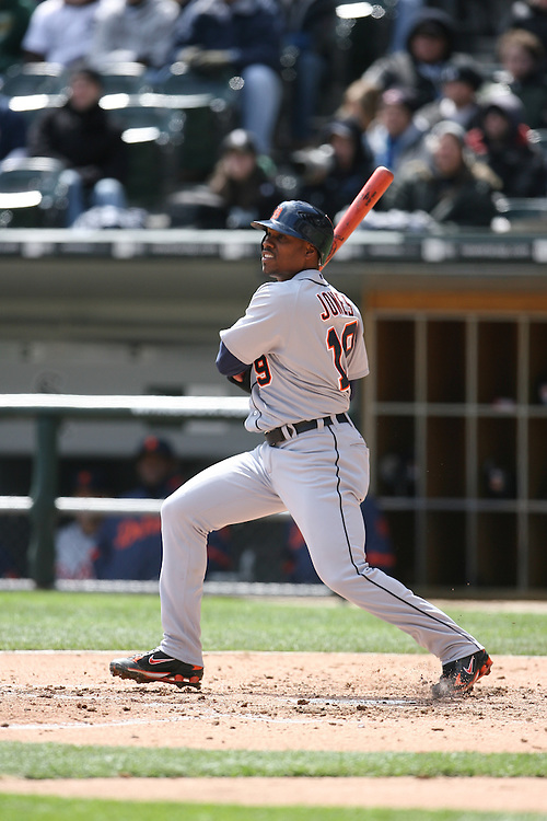 CHICAGO - APRIL 13:  Jacque Jones #19 of the Detroit Tigers bats during the game against the Chicago White Sox at U.S. Cellular Field in Chicago, Illinois on April 13, 2008.  The White Sox defeated the Tigers 11-0.  (Photo by Ron Vesely)