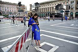 European elections on May 26th .Young woman wearing an European flag   / Italy, Milan Piazza Duomo Friday 24, 2019 (Credit Image: © Piaggesi/Fotogramma/Ropi via ZUMA Press)