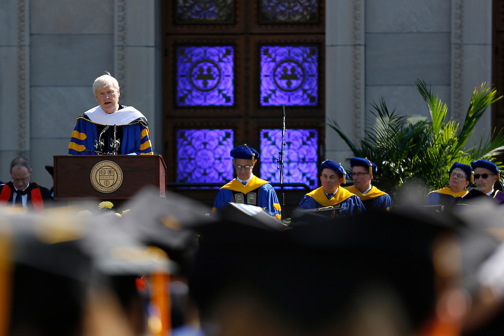 """Chris Matthews, the host of """"Hardball"""" on MSNBC, speaks at the University of Rochester's Commencement Ceremony on Sunday, May 18, 2014."""