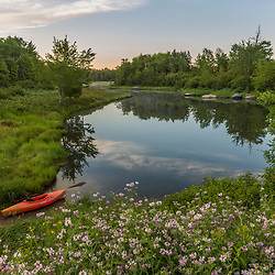 A kayak on Northeast Creek on Mount Desert Island. Bar Harbor, Maine. Acadia National Park.