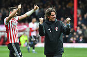 Brentford Manager Thomas Frank celebrates their 3-0 victory*** during the EFL Sky Bet Championship match between Brentford and Queens Park Rangers at Griffin Park, London, England on 2 March 2019.