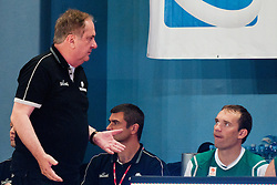 Bozidar Maljkovic, head coach of Slovenia, talking to Samo Udrih of Slovenia at exhibition game between Slovenia and Poland for Primus Trophy 2011Lithuania as part of exhibition games before European Championship L2011on July 23, 2011, in Ljudski Vrt, Ptuj, Slovenia. (Photo by Matic Klansek Velej / Sportida)