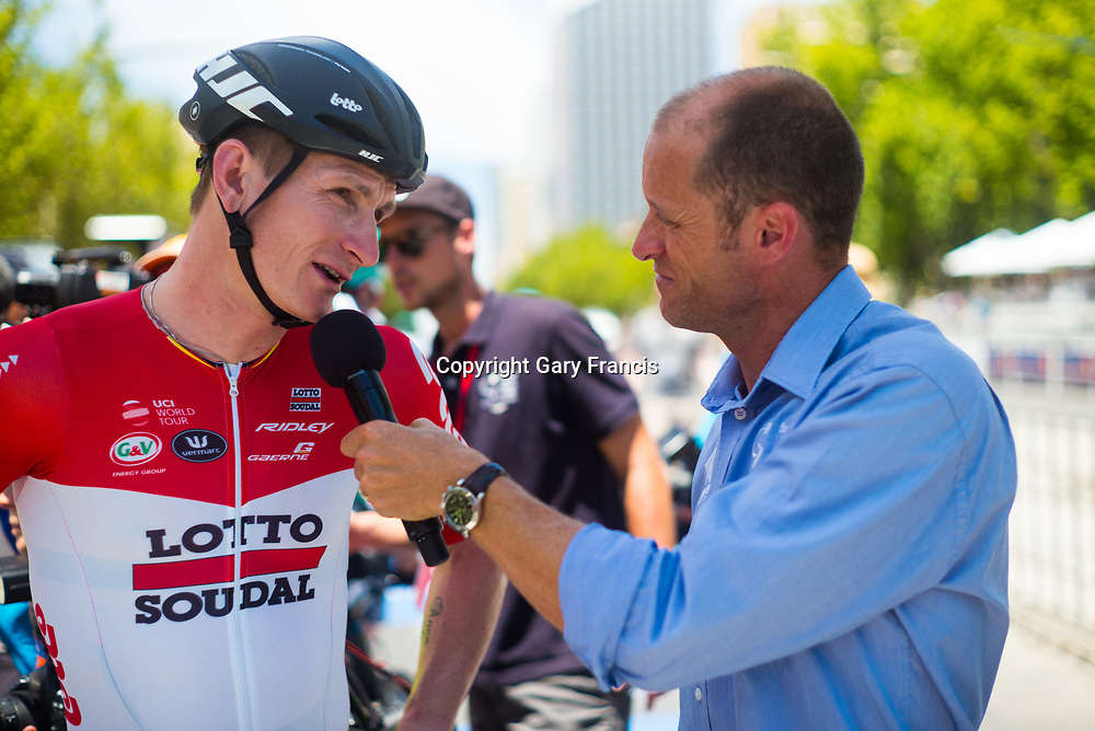 Andre Greipel at a pre race interview prior to the start of Stage 6, Adelaide City Circuit, of the Tour Down Under, Australia on the 21 of January 2018 ( Credit Image: © Gary Francis / ZUMA WIRE SERVICE )