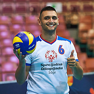 Katowice, Poland - 2017 September 01: Partner Nemanja Cendic from SO Serbia holds the ball and poses to the picture while SO Germany v SO Serbia match during European Unified Volleyball Tournament 2017 at Spodek Hall on September 01, 2017 in Katowice, Poland.<br /> <br /> Adam Nurkiewicz declares that he has no rights to the image of people at the photographs of his authorship.<br /> <br /> Picture also available in RAW (NEF) or TIFF format on special request.<br /> <br /> Any editorial, commercial or promotional use requires written permission from the author of image.<br /> <br /> Image can be used in the press when the method of use and the signature does not hurt people on the picture.<br /> <br /> Mandatory credit:<br /> Photo by © Adam Nurkiewicz / Mediasport