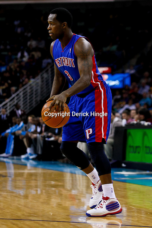 December 8, 2010; New Orleans, LA, USA; Detroit Pistons point guard Rodney Stuckey (3) against the New Orleans Hornets during a game at the New Orleans Arena. The Hornets defeated the Pistons 93-74. Mandatory Credit: Derick E. Hingle