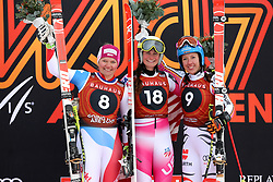 08.03.2017, Are, SWE, FIS Ski Alpin Junioren WM, Are 2017, Herren, Abfahrt, im Bild Katja Grossmann SUI, silver, Alice Merryweather, USA gold and Kira Weidle, bronze // during men's Downhill of the FIS Junior World Ski Championships 2017. Are, Sweden on 2017/03/08. EXPA Pictures © 2017, PhotoCredit: EXPA/ Nisse<br /> <br /> *****ATTENTION - OUT of SWE*****
