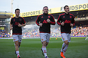 Ander Herrera of Manchester United Wayne Rooney of Manchester United and Morgan Schneiderlin of Manchester United before the Barclays Premier League match between Crystal Palace and Manchester United at Selhurst Park, London, England on 31 October 2015. Photo by Phil Duncan.