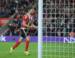 Jay Rodriguez of Southampton celebrates after he scores from the penalty spot to make it 1-1 - Mandatory byline: Paul Terry/JMP - 07966386802 - 20/08/2015 - FOOTBALL - ST Marys Stadium -Southampton,England - Southampton v FC Midtjylland - EUROPA League Play-Off Round