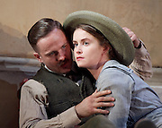 The Plough and the Stars <br /> directed by Howard davies and Jeremy Herrin <br /> at The Lyttelton Theatre, National Theatre, Southbank, London, Great Britain <br /> Press photocall<br /> 26th July 2016 <br /> <br /> <br /> Fiona Walton as Jack Clitheroe <br /> <br /> Judith Roddy as Nora Clitheroe <br /> <br /> <br /> <br /> Photograph by Elliott Franks <br /> Image licensed to Elliott Franks Photography Services