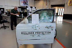 UK ENGLAND CREWE 5APR06 - Mulliner Protection show-door featuring bullet impact from various calibres at the Bentley Factory in Crewe...jre/Photo by Jiri Rezac..© Jiri Rezac 2006..Contact: +44 (0) 7050 110 417.Mobile:  +44 (0) 7801 337 683.Office:  +44 (0) 20 8968 9635..Email:   jiri@jirirezac.com.Web:    www.jirirezac.com..© All images Jiri Rezac 2006 - All rights reserved.