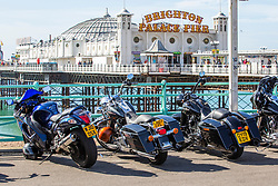 © Licensed to London News Pictures. 08/09/2019. Brighton, UK. Hundreds of bikers take a day out to Brighton and Hove on the first weekend of September as mild weather his hitting the seaside resort. Photo credit: Hugo Michiels/LNP