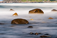 Norway, Sele. Rocky coastline, long exposure.
