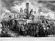 French Revolution: Execution of Louis XVI (1754-1793) 21 January 1793.  King of France from 1774. Louis's head being shown to the crowd.  On far side of scaffold a wicker basket stands ready to receive his body. Engraving.
