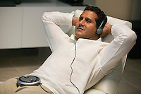 Reclining Man Listening to Music