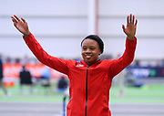 tKteturah Orji is introduced prior to the triple jump  during the USA Indoor Track and Field Championships in Staten Island, NY, Sunday, Feb 24, 2019. (Rich Graessle/Image of Sport)