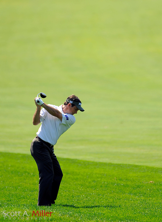 Aug 14, 2009; Chaska, MN, USA; Mark Wilson (USA) hits his second shot on the 12th hole during the second round of the 2009 PGA Championship at Hazeltine National Golf Club.  ©2009 Scott A. Miller