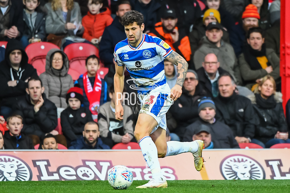 Queens Park Rangers Defender Jake Bidwell (3) during the EFL Sky Bet Championship match between Brentford and Queens Park Rangers at Griffin Park, London, England on 2 March 2019.