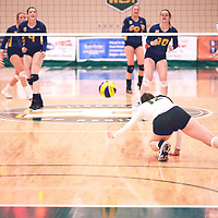 2nd year outside hitter, Jessica Lerminiaux (12) of the Regina Cougars during the Women's Volleyball home game on Fri Jan 18 at Centre for Kinesiology, Health & Sport. Credit: Arthur Ward/Arthur Images