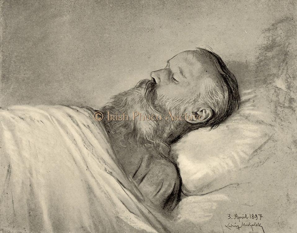 Johannes Brahms (1833-1897), German composer, on his deathbed. After pastel by Ludwig Michalek. Halftone.