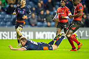 Cameron Fenton (#16) of Edinburgh Rugby scores a try for Edinburgh during the Guinness Pro 14 2018_19 rugby match between Edinburgh Rugby and Isuzu Southern Kings at the BT Murrayfield Stadium, Edinburgh, Scotland on 5 January 2019.