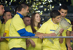 Maja Zugec, 12th player of NK Domzalem Tadej Apatic and  celebrates after the football match between NK Domzale and NK Maribor in final match of Hervis Cup, on May 25, 2011 in SRC Stozice, Ljubljana, Slovenia. Domzale defeated Maribor and became Slovenian Cup Champion 2011. (Photo By Vid Ponikvar / Sportida.com)