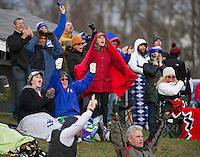 Interlakes fans cheer a touchdown during Saturday's NHIAA semi final football with Winnisquam.  (Karen Bobotas/for the Laconia Daily Sun)