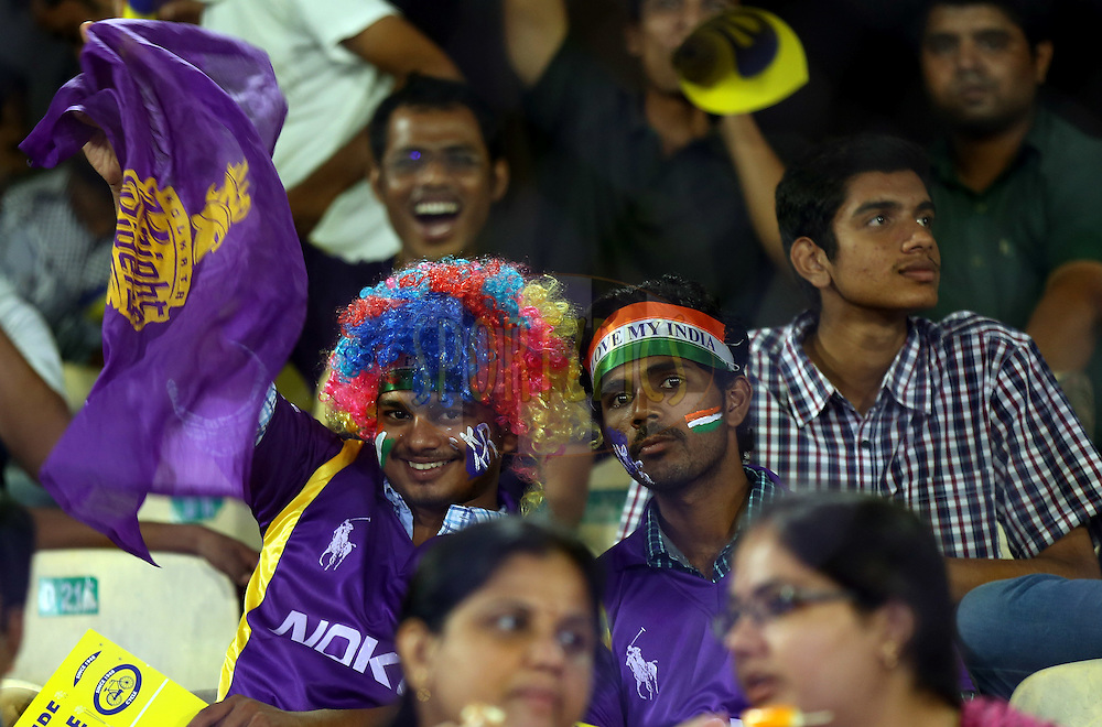 Fan's Enjoys during match 10 of the Oppo Champions League Twenty20 between the Kolkata Knight Riders and the Perth Scorchers held at the Rajiv Gandhi Cricket Stadium, Hyderabad, India on the 24th September 2014<br /> <br /> Photo by:  Sandeep Shetty / Sportzpics/ CLT20<br /> <br /> <br /> Image use is subject to the terms and conditions as laid out by the BCCI/ CLT20.  The terms and conditions can be downloaded here:<br /> <br /> http://sportzpics.photoshelter.com/gallery/CLT20-Image-Terms-and-Conditions-2014/G0000IfNJn535VPU/C0000QhhKadWcjYs