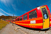 Jungfrau Railway train at Kleine Scheidegg in the Swiss Alps, Canton Bern, Switzerland