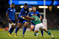 Mathieu Bastareaud of France looks to get past Ian Madigan of Ireland - Mandatory byline: Patrick Khachfe/JMP - 07966 386802 - 11/10/2015 - RUGBY UNION - Millennium Stadium - Cardiff, Wales - France v Ireland - Rugby World Cup 2015 Pool D.