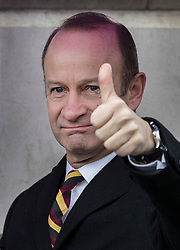 © Licensed to London News Pictures. 03/02/2018. London, UK. UKIP Leader Henry Bolton gives a thumbs up as he takes part in a Veterans for Justice March in central London .Photo credit: Peter Macdiarmid/LNP