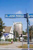 Road sign showing Pope John Paul II Street name in Nowa Huta Krakow Poland