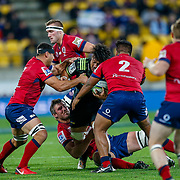 Ardie Savea tackled during the Super rugby union game (Round 14) played between Hurricanes v Reds, on 18 May 2018, at Westpac Stadium, Wellington, New  Zealand.    Hurricanes won 38-34.