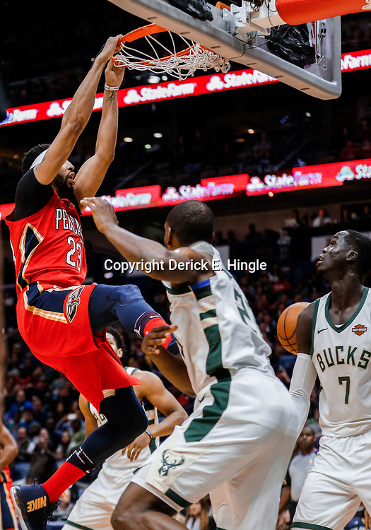 Dec 13, 2017; New Orleans, LA, USA; New Orleans Pelicans forward Anthony Davis (23) dunks against the Milwaukee Bucks during the second half at the Smoothie King Center. The Pelicans defeated the Bucks 115-108. Mandatory Credit: Derick E. Hingle-USA TODAY Sports