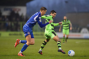 Forest Green Rovers Midfielder, Fabien Robert (26) is first to the ball during the FA Trophy match between Forest Green Rovers and Truro City at the New Lawn, Forest Green, United Kingdom on 10 December 2016. Photo by Adam Rivers.