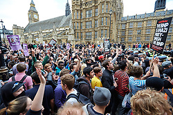 © Licensed to London News Pictures.  01/06/2013. LONDON, UK. Anti-fascist protesters block Whitehall to prevent a BNP march. Police were forced to separate rival protests by the BNP and anti-fascist groups in Whitehall. The BNP initially wanted to march in Woolwich, scene of the murder of a solider recently, but were banned by police from doing so.  Photo credit: Cliff Hide/LNP