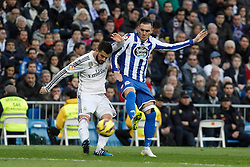 14.02.2015, Estadio Santiago Bernabeu, Madrid, ESP, Primera Division, Real Madrid vs Deportivo La Coruna, 23. Runde, im Bild Real Madrid&acute;s Nacho Fernandez (L) and Deportivo de la Courna&acute;s Cavaleiro // during the Spanish Primera Division 23rd round match between Real Madrid vs Deportivo La Coruna at the Estadio Santiago Bernabeu in Madrid, Spain on 2015/02/14. EXPA Pictures &copy; 2015, PhotoCredit: EXPA/ Alterphotos/ Victor Blanco<br /> <br /> *****ATTENTION - OUT of ESP, SUI*****