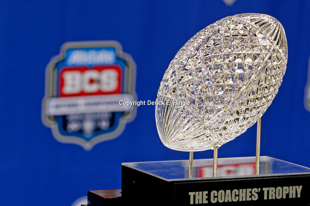 January 6, 2012; New Orleans, LA, USA; A detailed view of the crystal football that sits on top of The Coaches Trophy awarded to the winner of the National Championship is seen during Media Day for the 2012 BCS National Championship game to be played on January 9, 2012 between the LSU Tigers and Alabama Crimson Tide at the Mercedes-Benz Superdome.  Mandatory Credit: Derick E. Hingle-US PRESSWIRE