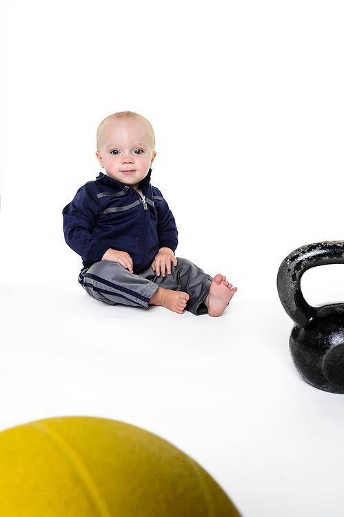 Greyson Verstegen, fourteen-month-old son of fitness trainer Shana Verstegen, is pictured in a studio portrait in Madison, Wis., on Aug. 21, 2016. (Photo by Jeff Miller, www.jeffmillerphotography.com)